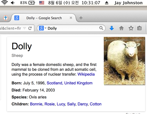 dolly the cloned sheep from the nineties